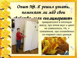 Опыт №4. Я решил узнать, поменяет ли мёд свои свойства, если его заморозить Я