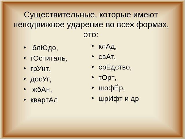 Существительные, которые имеют неподвижное ударение во всех формах, это: блЮ...