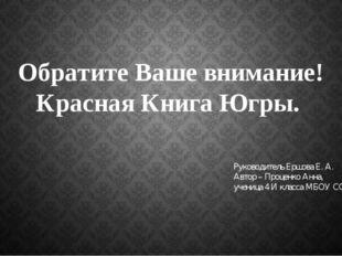Обратите Ваше внимание! Красная Книга Югры. Руководитель Ершова Е. А. Автор –