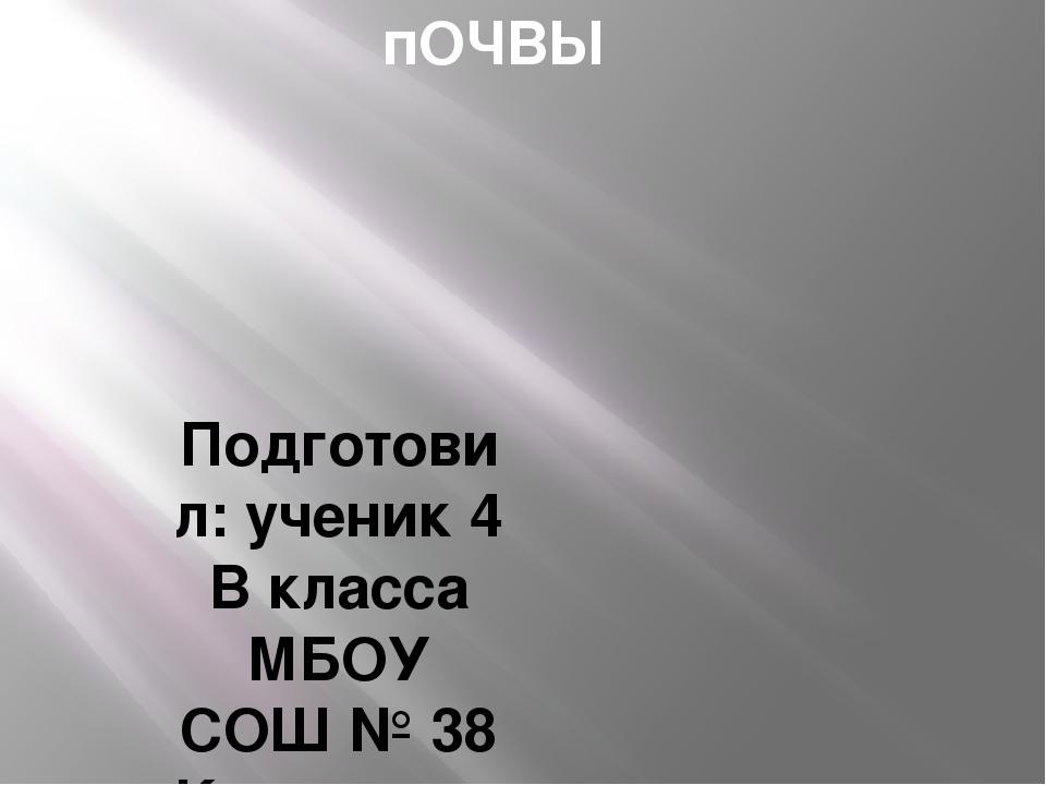 пОЧВЫ Подготовил: ученик 4 В класса МБОУ СОШ № 38 Краснодар Марусенко Евгений