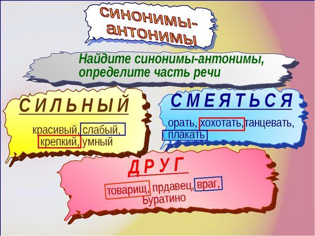 Найдите синонимы-антонимы, определите часть речи С И Л Ь Н Ы Й С М Е Я Т Ь С...