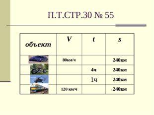 П.Т.СТР.30 № 55 объектV t s 80км/ч240км 4ч240км 1ч240км 120 км/ч