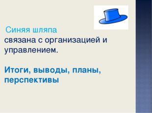 Синяя шляпа связана с организацией и управлением. Итоги, выводы, планы, перс