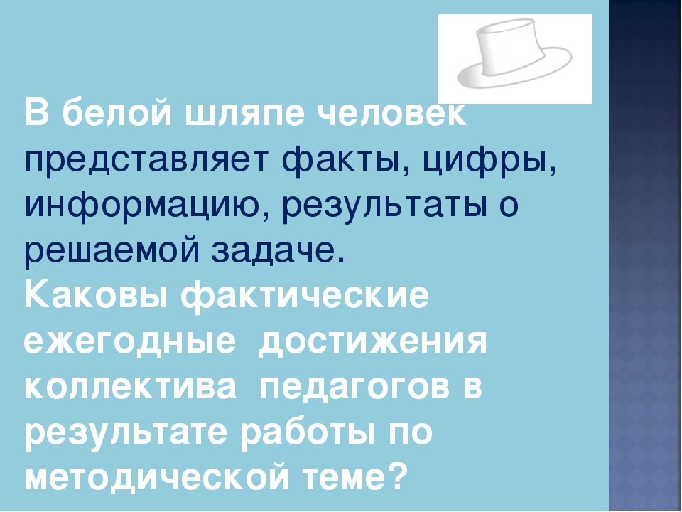 В белой шляпе человек представляет факты, цифры, информацию, результаты о реш...