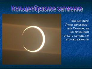 Темный диск Луны закрывает все Солнце, за исключением тонкого кольца по его о