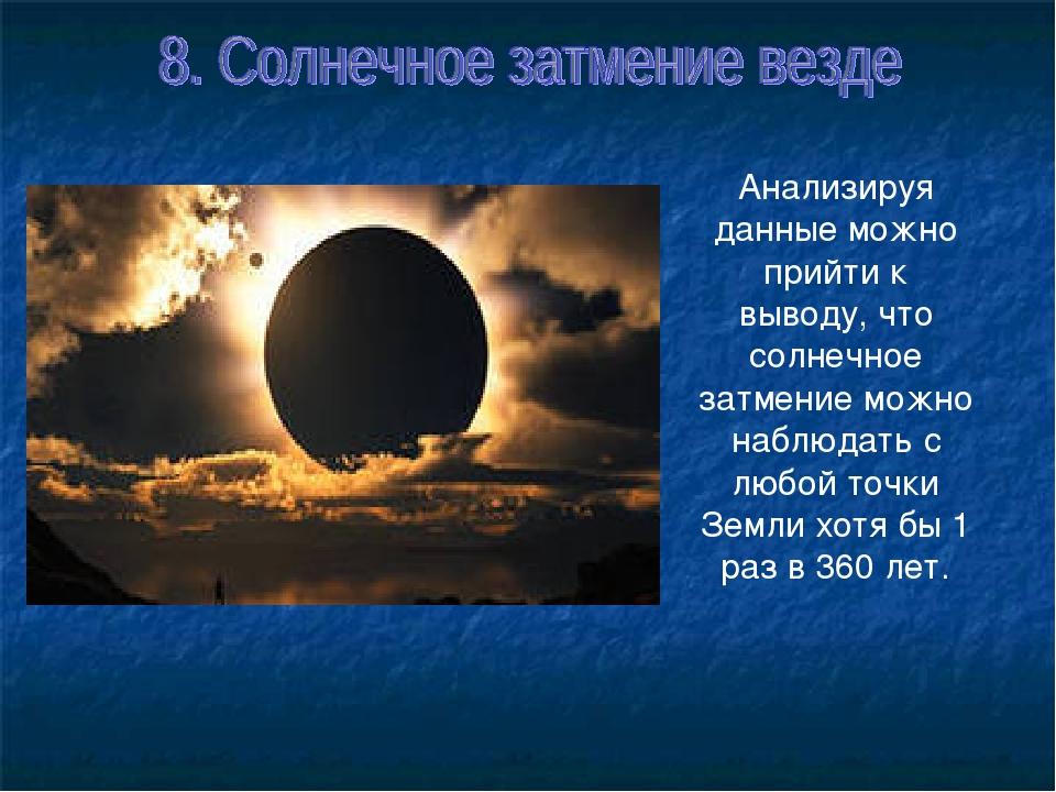 Анализируя данные можно прийти к выводу, что солнечное затмение можно наблюда...