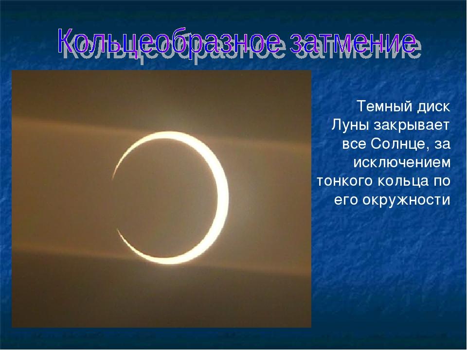 Темный диск Луны закрывает все Солнце, за исключением тонкого кольца по его о...
