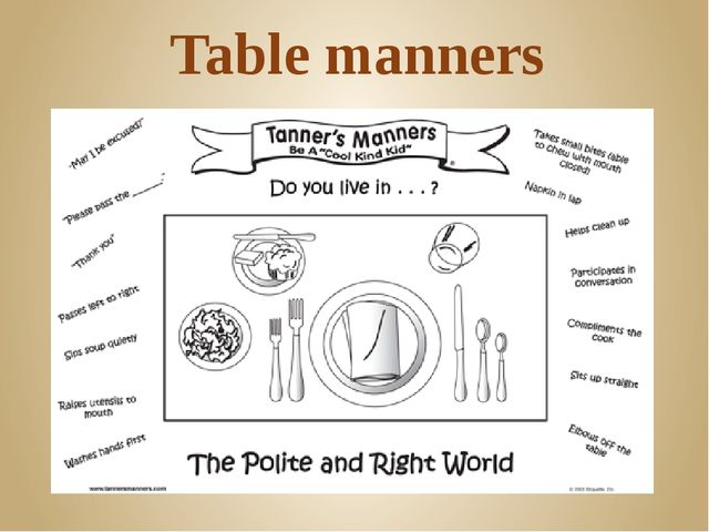 3. Take a slice of bread from the bread-plate by hand 4. Never read while eat...