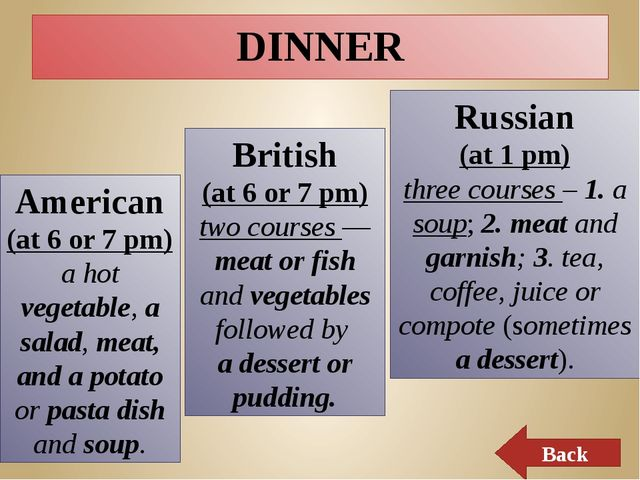 SUPPER Russian (at 7 o'clock pm) different dishes, because of tastes Back