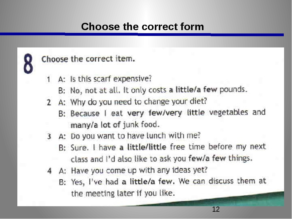 Choose the correct form