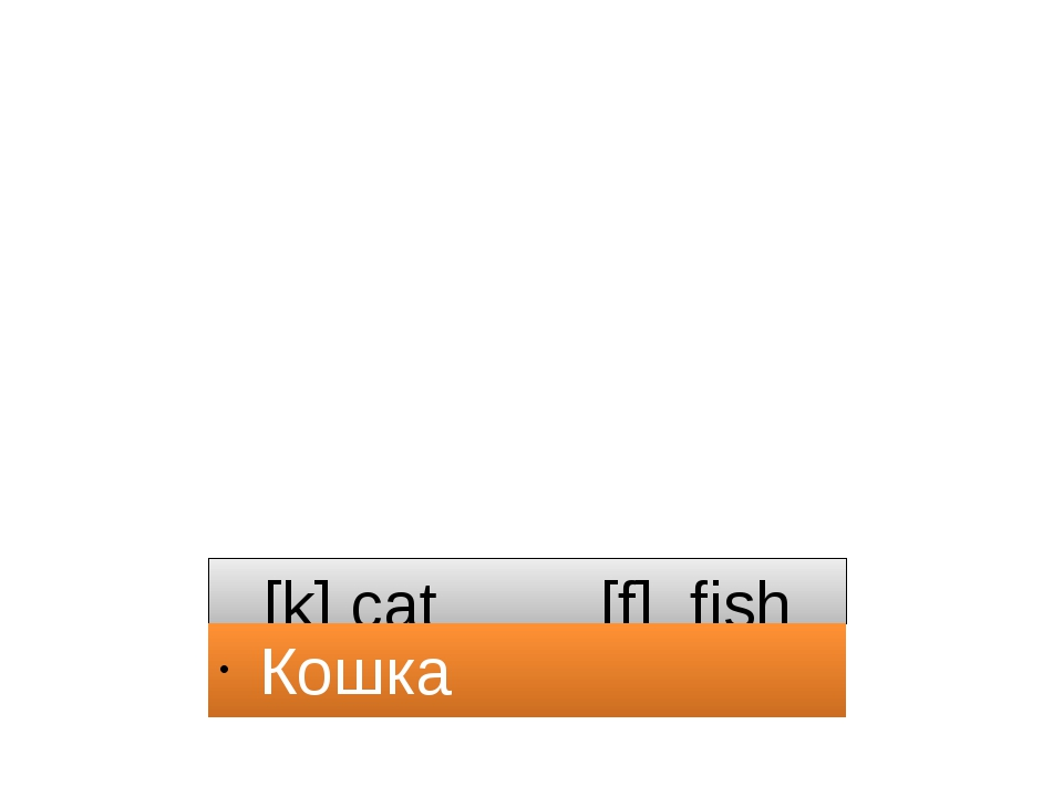 [k] cat [f] fish Кошка рыба