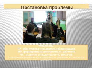 Постановка проблемы Результаты: ПР- обеспечение познавательной мотивации МР