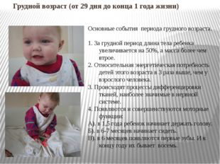 Грудной возраст (от 29 дня до конца 1 года жизни) Основные события периода гр