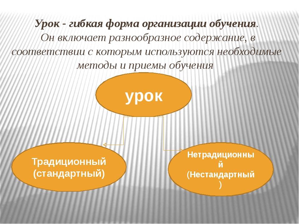 Урок - гибкая форма организации обучения. Он включает разнообразное содержани...