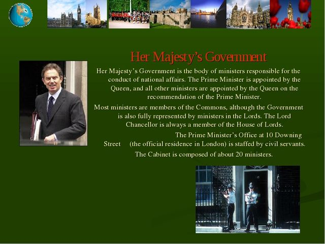 Her Majesty's Government Her Majesty's Government is the body of ministers re...