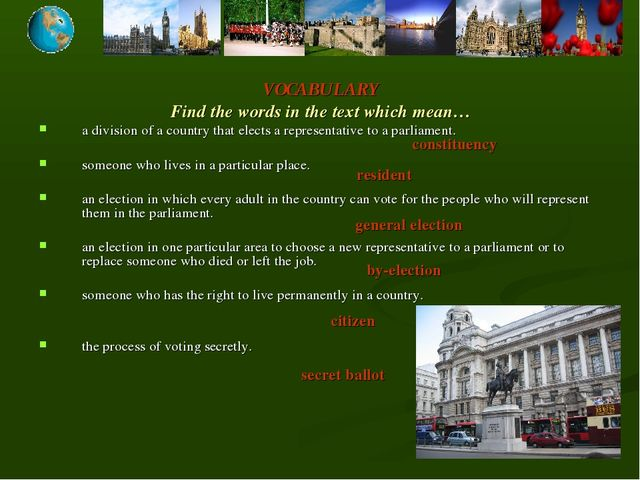 VOCABULARY Find the words in the text which mean… a division of a country tha...