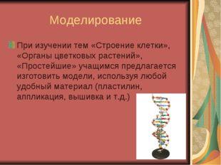 Моделирование При изучении тем «Строение клетки», «Органы цветковых растений»