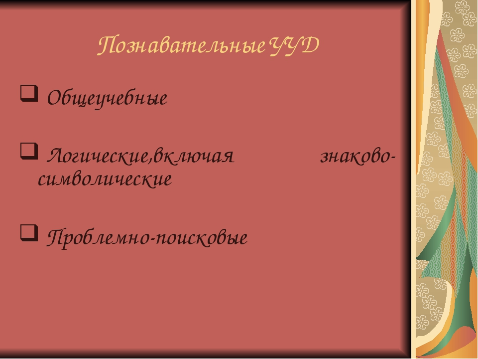 Познавательные УУД Общеучебные Логические,включая знаково-символические Пробл...