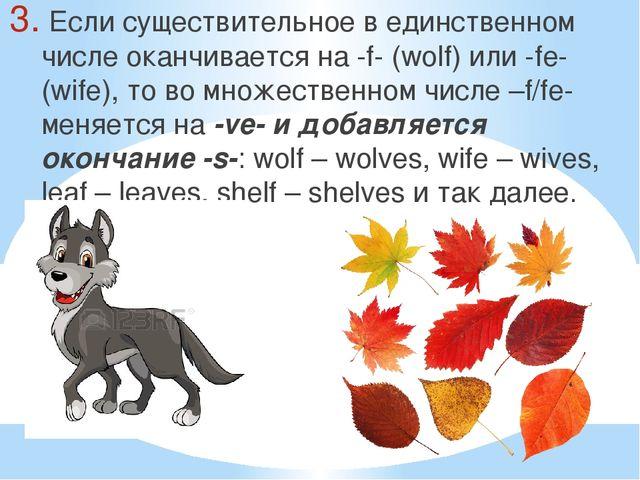 Если существительное в единственном числе оканчивается на -f- (wolf) или -fe...