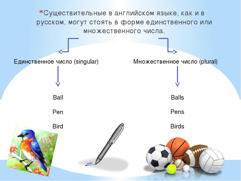 Существительные в английском языке, как и в русском, могут стоять в форме еди...