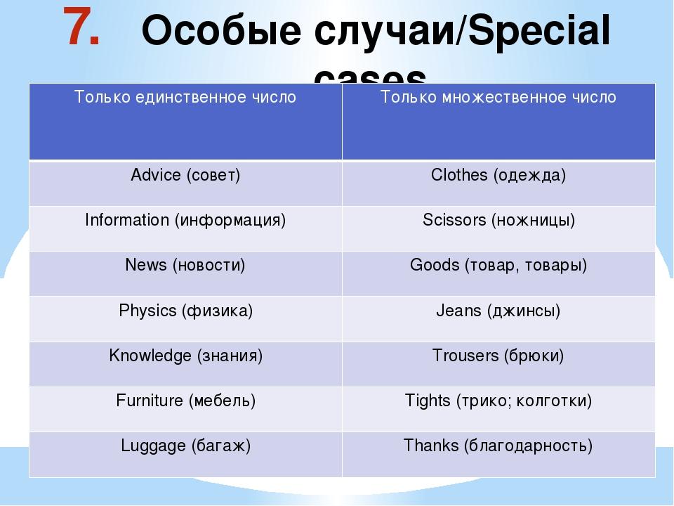 Особые случаи/Special cases Только единственноечисло Только множественное чи...