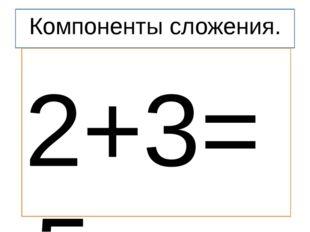 Компоненты сложения. 2+3=5 2 – слагаемое 3 - слагаемое 2+3 – сумма 5 – резуль