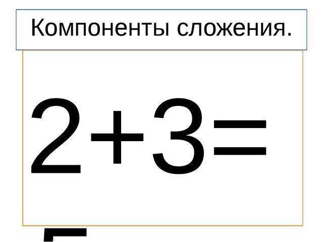 Компоненты сложения. 2+3=5 2 – слагаемое 3 - слагаемое 2+3 – сумма 5 – резуль...