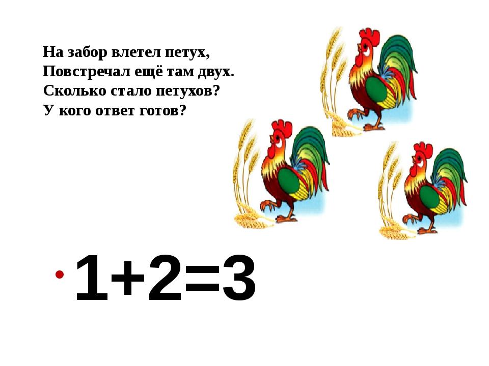 1+2=3 На забор влетел петух, Повстречал ещё там двух. Сколько стало петухов?...