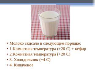 Молоко скисало в следующем порядке: 1.Комнатная температура (+20 С) + кефир 2