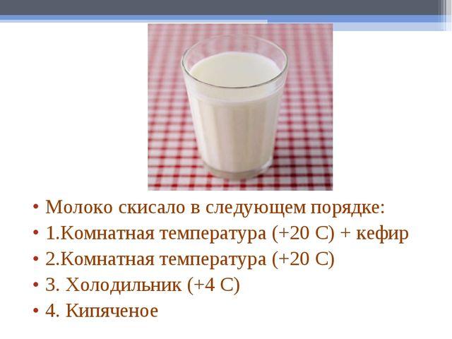 Молоко скисало в следующем порядке: 1.Комнатная температура (+20 С) + кефир 2...