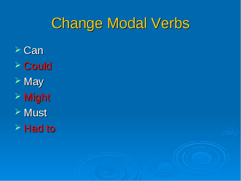 Change Modal Verbs Can Could May Might Must Had to
