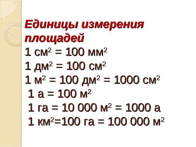 Единицы измерения площадей 1 см2 = 100 мм2 1 дм2 = 100 см2 1 м2 = 100 дм2 = 1...