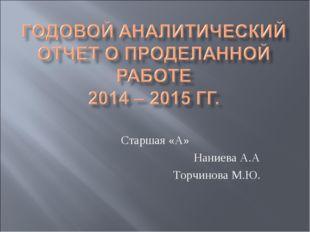 Старшая «А» Наниева А.А Торчинова М.Ю.
