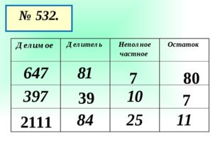 № 532. 7 80 39 7 2111 Делимое Делитель Неполное частное Остаток 647 81 397 10