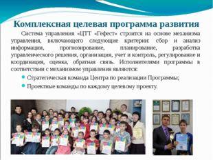 Комплексная целевая программа развития Система управления «ЦТТ «Гефест» строи