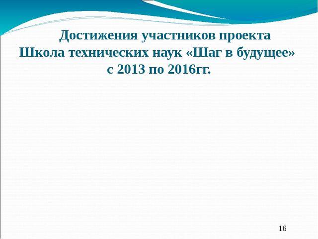 Достижения участников проекта Школа технических наук «Шаг в будущее» с 2013 п...