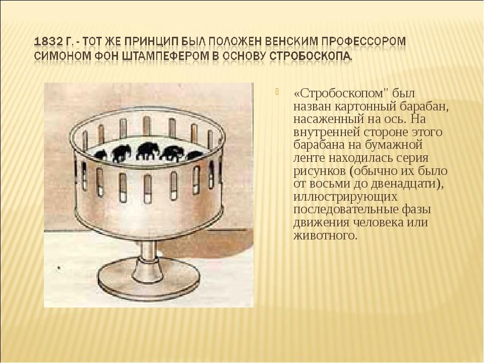 """«Стробоскопом"""" был назван картонный барабан, насаженный на ось. На внутренней..."""
