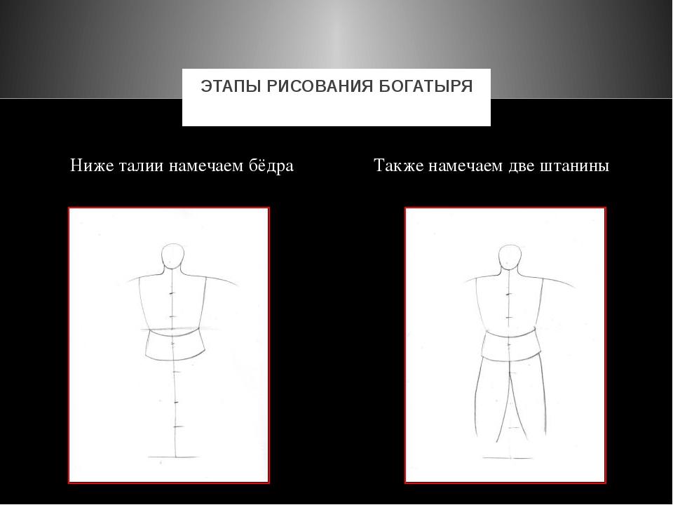 Ниже талии намечаем бёдра Также намечаем две штанины ЭТАПЫ РИСОВАНИЯ БОГАТЫРЯ