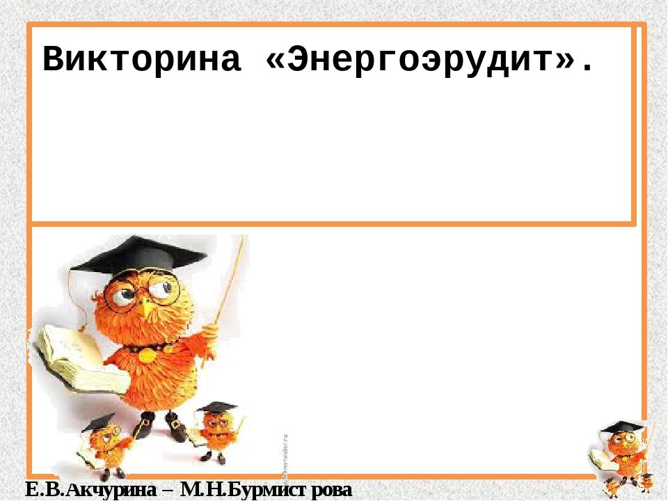 Викторина «Энергоэрудит». Е.В.Акчурина – М.Н.Бурмистрова