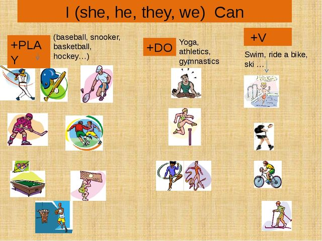 I (she, he, they, we) Can +PLAY +DO +V (baseball, snooker, basketball, hockey...