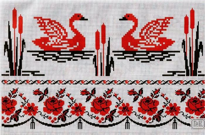 Вышивка лебеди на рушниках 49