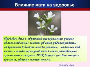 Company Logo Проведен был и обратный эксперимент: ученые «благословляли» семе