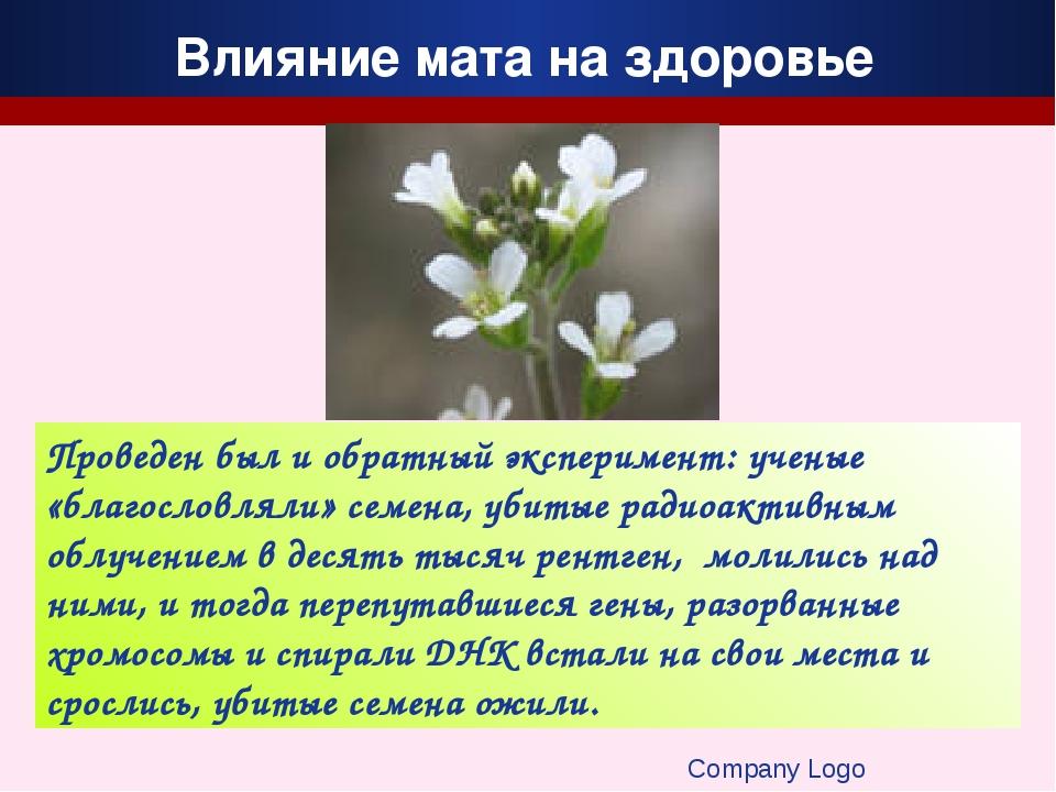 Company Logo Проведен был и обратный эксперимент: ученые «благословляли» семе...