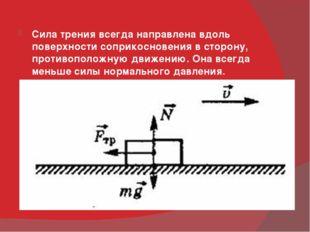 Сила трения всегда направлена вдоль поверхности соприкосновения в сторону, п