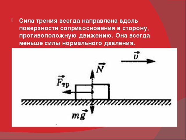 Сила трения всегда направлена вдоль поверхности соприкосновения в сторону, п...