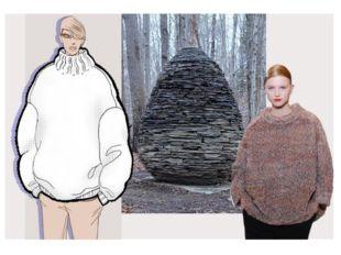 Яйцевидный свитер-кокон Вырез округлой формы, увеличенная линия плеч и округ