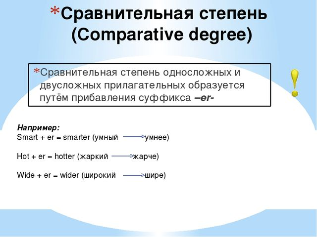 Сравнительная степень (Comparative degree) Сравнительная степень односложных...