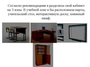 Согласно рекомендациям я разделила свой кабинет на 3 зоны. В учебной зоне я б