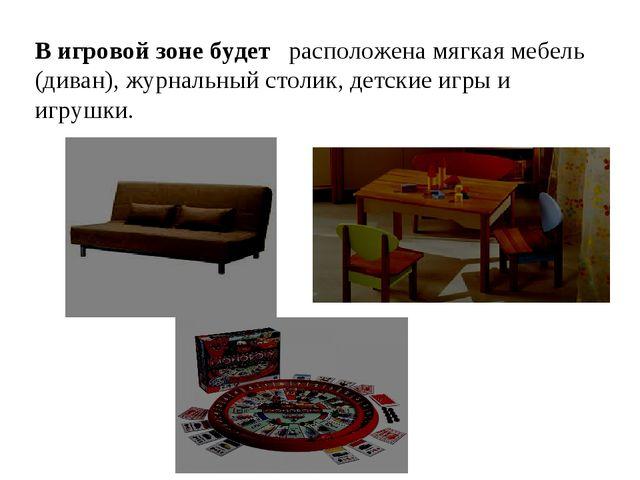 В игровой зоне будет расположена мягкая мебель (диван), журнальный столик, де...