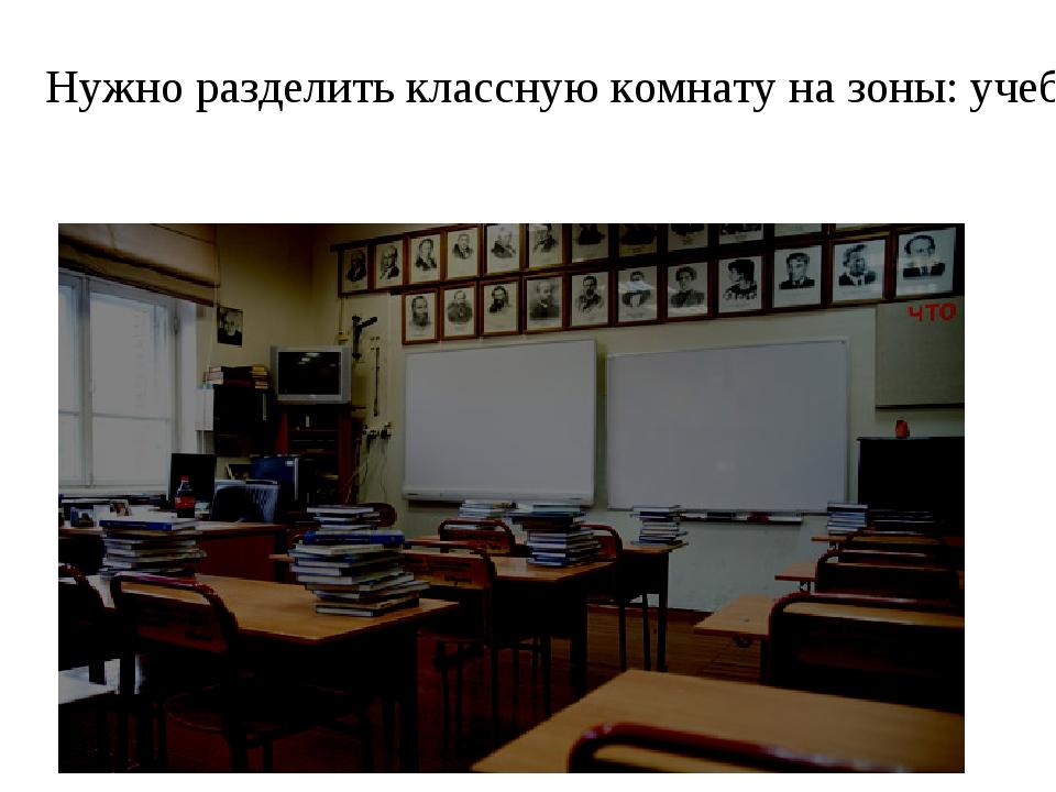 Нужно разделить классную комнату на зоны: учебную, игровую, информационную.